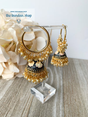 Tulip in Pink Baaliyan Earrings THE KUNDAN SHOP Black
