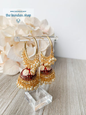 Tulip in Pink Baaliyan Earrings THE KUNDAN SHOP Maroon