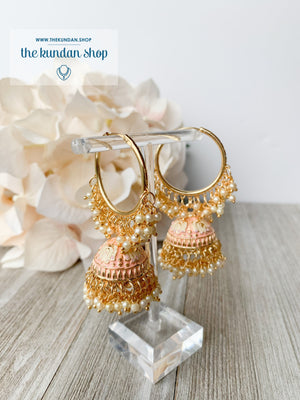 Tulip in Pink Baaliyan Earrings THE KUNDAN SHOP Peach