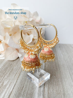 Tulip in Pink Baaliyan Earrings THE KUNDAN SHOP Dark Peach