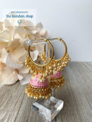 Tulip in Pink Baaliyan Earrings THE KUNDAN SHOP Pink