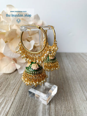 Tulip in Pink Baaliyan Earrings THE KUNDAN SHOP Dark Green