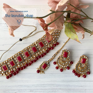 Troublemaker - Dark Pink Necklace Set THE KUNDAN SHOP