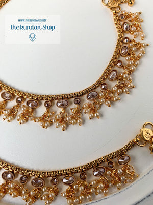 Shining Through in Bright Gold - Polki Anklets Anklets THE KUNDAN SHOP