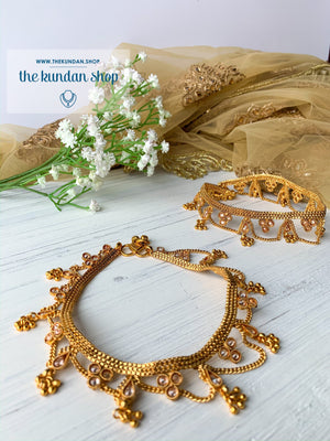 Polki Layers Anklets in Gold, Anklets - THE KUNDAN SHOP