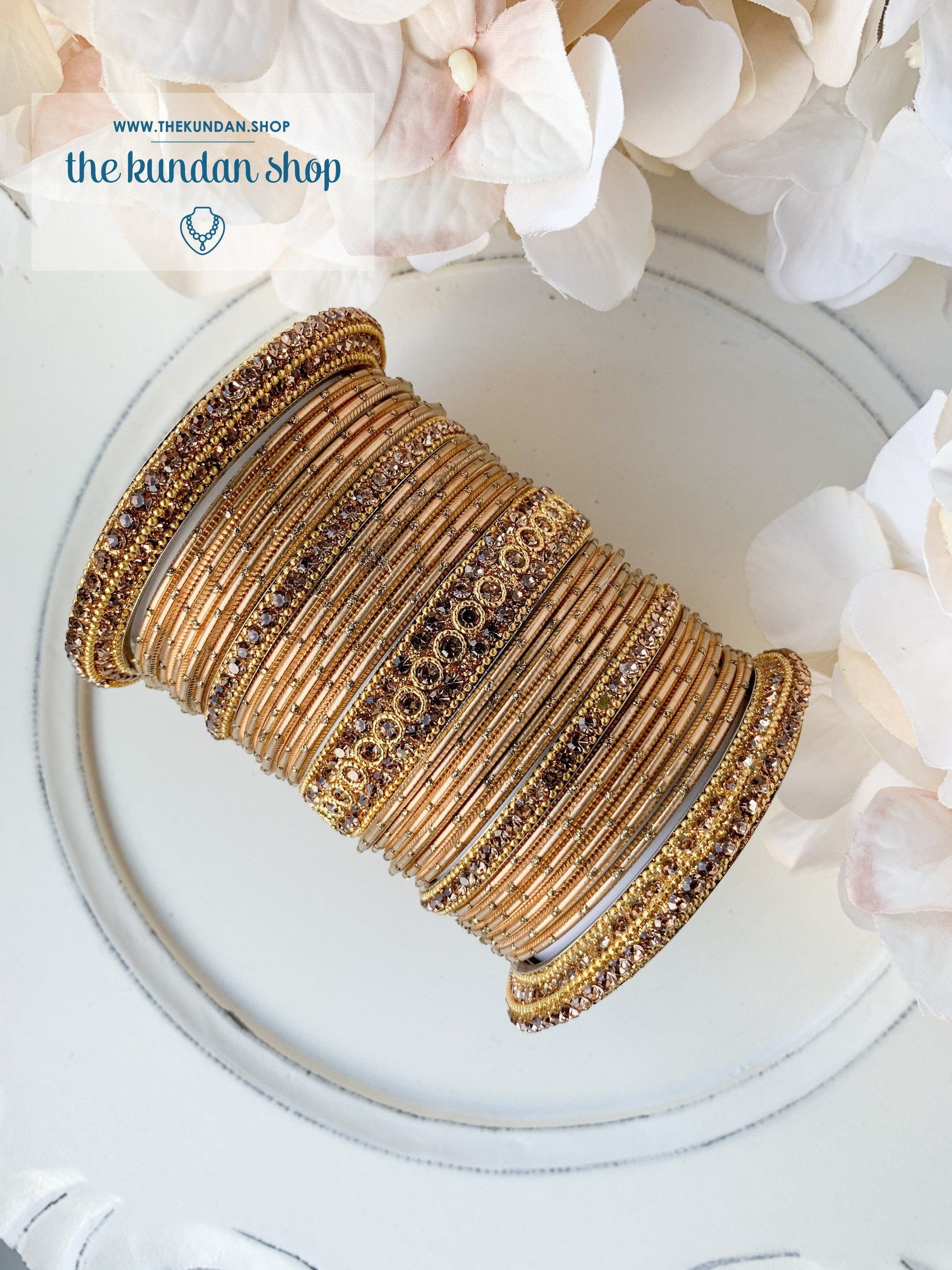 Rhinestone & Dotted Bangles in Gold Bangles THE KUNDAN SHOP
