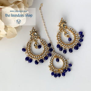 Everlasting - Blue Earrings + Tikka THE KUNDAN SHOP