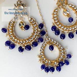 Everlasting - Blue, Earrings + Tikka - THE KUNDAN SHOP