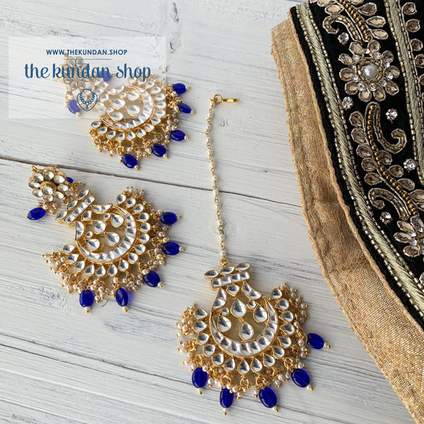 Outrageous - Blue Earrings + Tikka THE KUNDAN SHOP