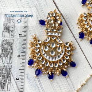 Outrageous - Blue, Earrings + Tikka - THE KUNDAN SHOP