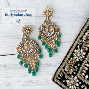 Exceptional - Green Earrings + Tikka THE KUNDAN SHOP