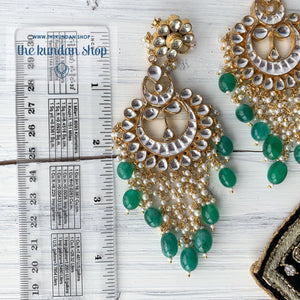Exceptional - Green, Earrings + Tikka - THE KUNDAN SHOP