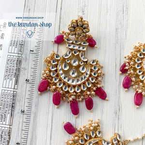 Outrageous - Pink Earrings + Tikka THE KUNDAN SHOP