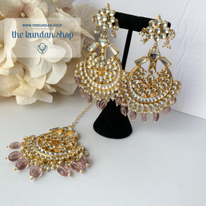 Leader - Light Pink Earrings + Tikka THE KUNDAN SHOP