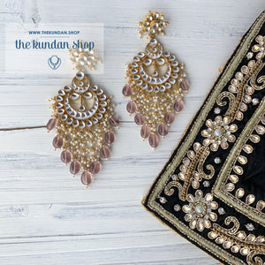 Exceptional - Light Pink, Earrings + Tikka - THE KUNDAN SHOP