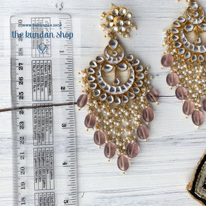 Exceptional - Light Pink Earrings + Tikka THE KUNDAN SHOP