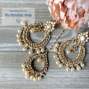 Everlasting - Pearl, Earrings + Tikka - THE KUNDAN SHOP