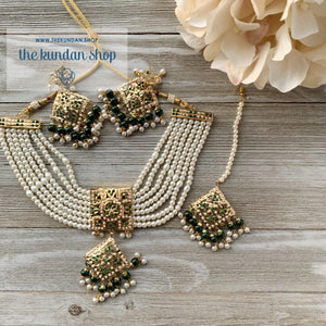 Diamond Jadau - Green, Necklace Sets - THE KUNDAN SHOP