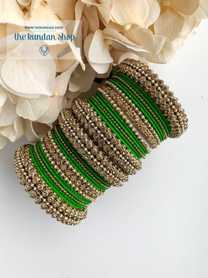 Dotted Bangle Set in Pearl & Green Bangles THE KUNDAN SHOP