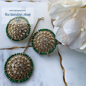 Petals in Polki - Green, Earrings + Tikka - THE KUNDAN SHOP