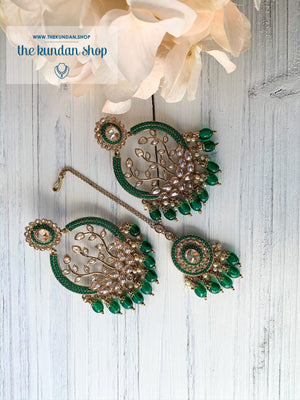 Smooth Move - Green, Earrings + Tikka - THE KUNDAN SHOP
