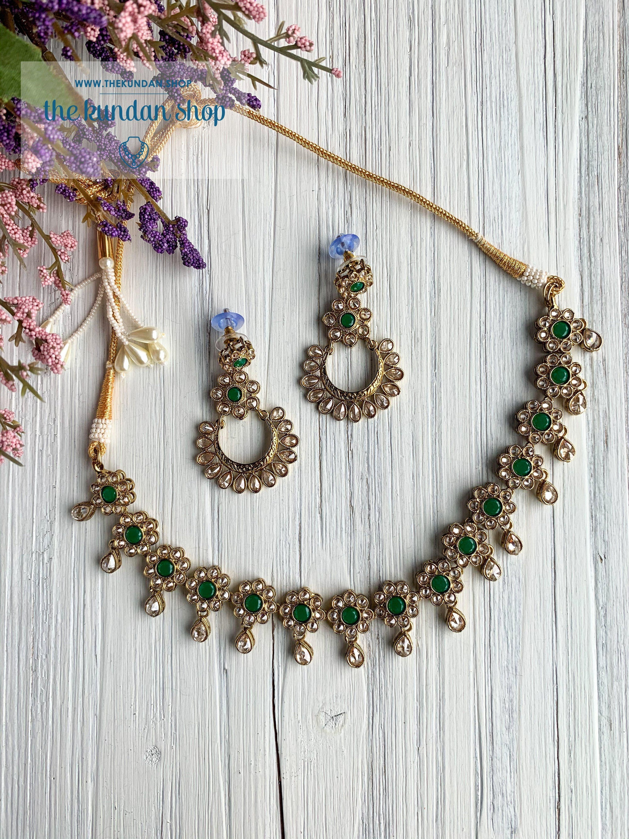 A Love of Polki in Green Necklace Sets THE KUNDAN SHOP