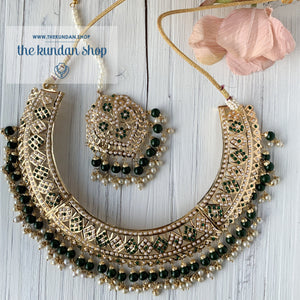 A Beauty In Jumki Jadau Set - Green, Necklace Sets - THE KUNDAN SHOP