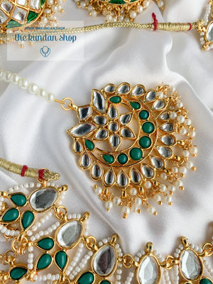 Storytelling in Green Necklace Sets THE KUNDAN SHOP