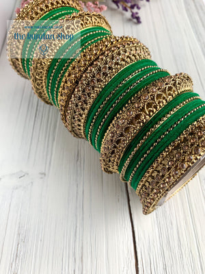 Green Velvet & Bronze Bangle Set Bangles THE KUNDAN SHOP