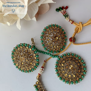 Line &  Studs - Green, Necklace Sets - THE KUNDAN SHOP