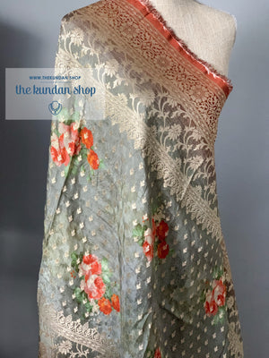 Banarsi Floral - Grey, Dupatta - THE KUNDAN SHOP