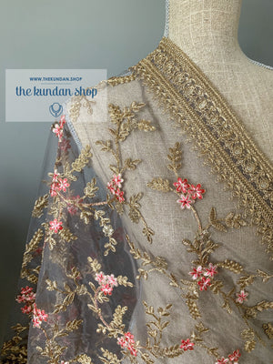 A Pink Flower - Grey, Dupatta - THE KUNDAN SHOP