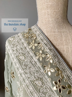 Around In Petals - Grey, Dupatta - THE KUNDAN SHOP