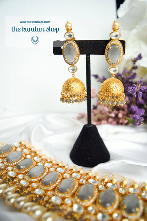 Lavish Kundan in Grey Necklace Sets THE KUNDAN SHOP