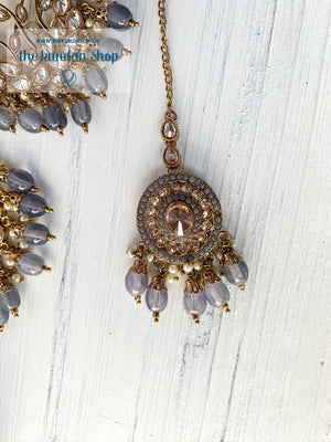 Smooth Move - Grey, Earrings + Tikka - THE KUNDAN SHOP