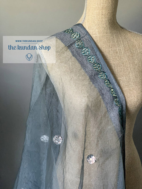 Through a Mirror - Grey, Dupatta - THE KUNDAN SHOP