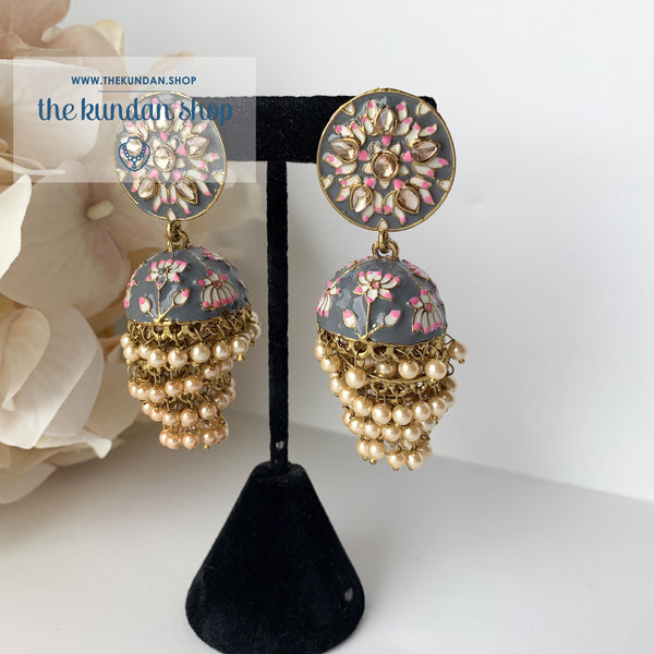 Layers of Grey, Earrings - THE KUNDAN SHOP