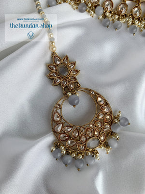Expectations in Grey Necklace Sets THE KUNDAN SHOP