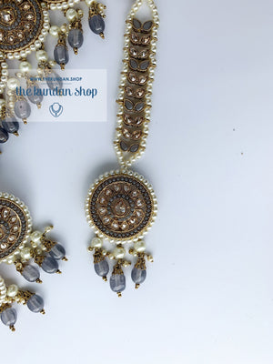 Spirited in Grey Necklace Sets THE KUNDAN SHOP