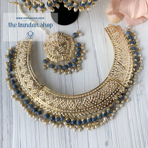 A Beauty In Jumki Jadau Set - Grey, Necklace Sets - THE KUNDAN SHOP