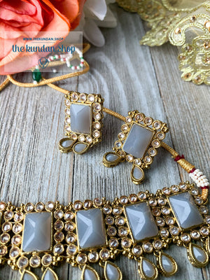 About Last Night - Grey, Necklace Sets - THE KUNDAN SHOP