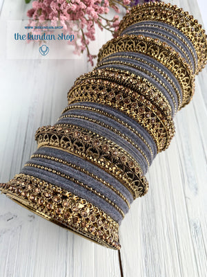 Grey Velvet & Bronze Bangle Set Bangles THE KUNDAN SHOP