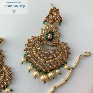 Queen of Hearts - Green, Earrings + Tikka - THE KUNDAN SHOP