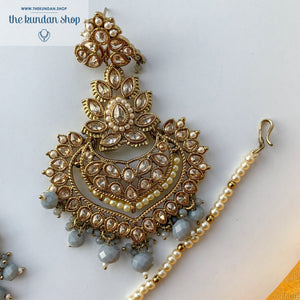 Queen of Hearts - Grey, Earrings + Tikka - THE KUNDAN SHOP