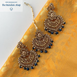 Queen of Hearts - Midnight Blue, Earrings + Tikka - THE KUNDAN SHOP
