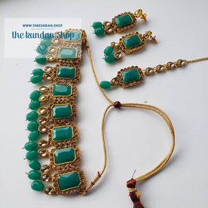 Heavenly - Green, Necklace Sets - THE KUNDAN SHOP