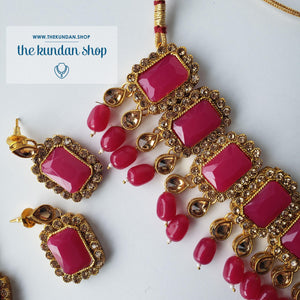 Heavenly - Pink Necklace Sets THE KUNDAN SHOP Gold