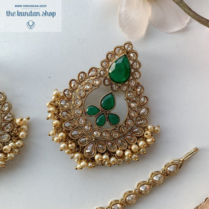 Hidden in The Forest, Earrings + Tikka - THE KUNDAN SHOP