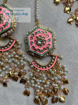 Ethereal in Hot Pink & Gold Necklace Sets THE KUNDAN SHOP