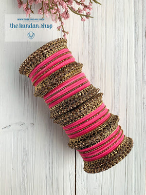 Hot Pink Velvet & Bronze Bangle Set Bangles THE KUNDAN SHOP